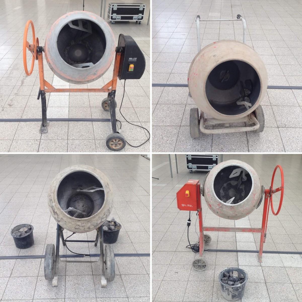 Quartet of concrete mixers