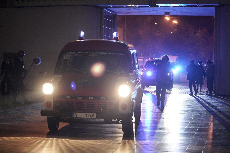 Ambulance vehicles sounding their horns
