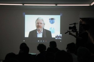 Julian Assange via Skype ath the 8th of March 2014 at the Helmhaus Zurich. Credit: