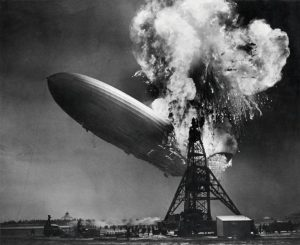 Crashing of the airship LZ 129 Hindenburg on the 6th of May 1937 in Lakehurst, New Jersey (USA). Foto credit: Sam Shere